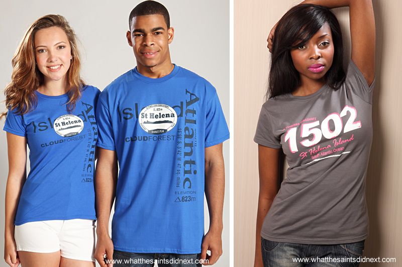 Samples of some of the St Helena t-shirts subscribers could win every month.