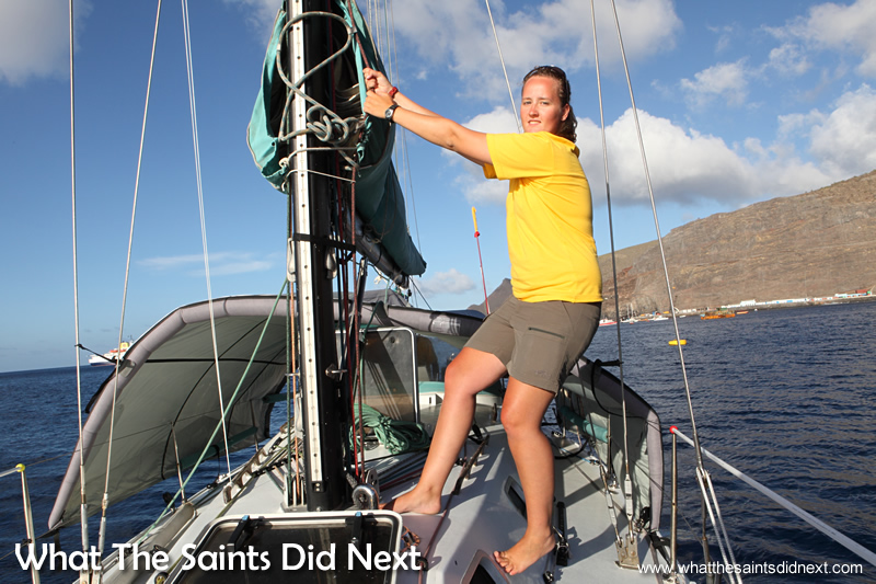 Cathleen demonstrating how the sails are changed and configured.