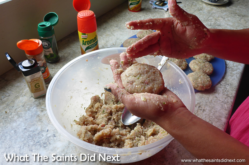 The final mixture being shaped into patties.