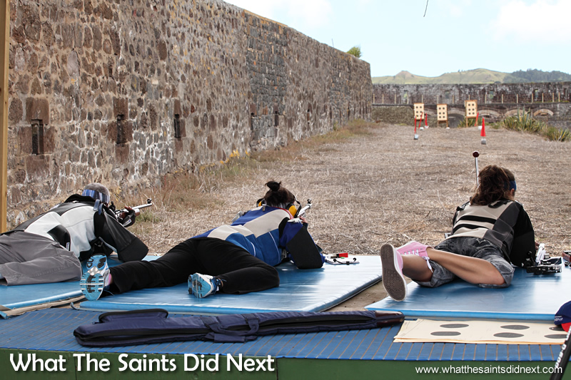 Pat, Kayleigh and Jodie, taking aim on the 50m range.