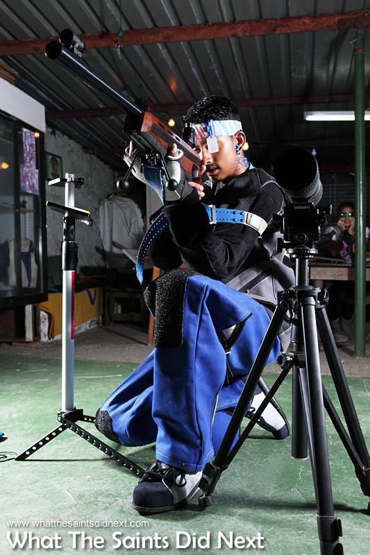 Jordie demonstrates the kneeling position as part of the 3P discipline.