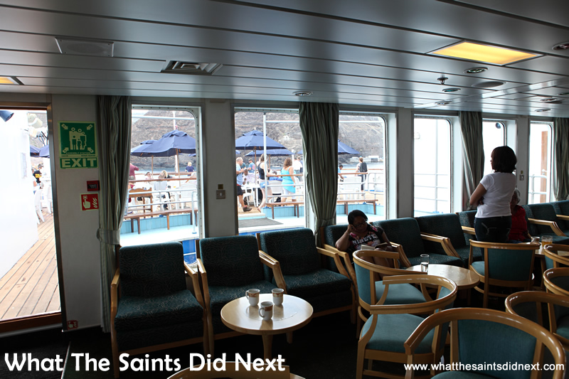 Looking out from the Sun Lounge as the vessel turns on the anchorage.