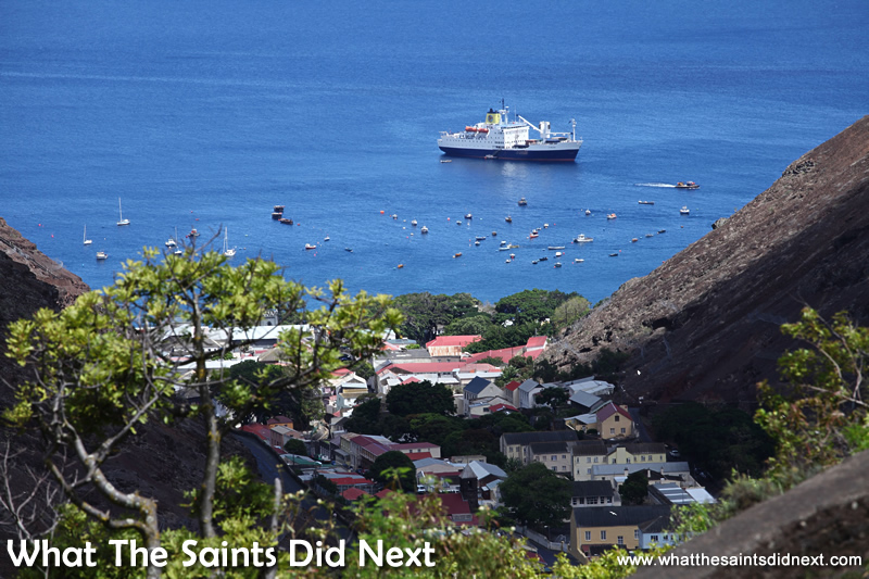 The RMS St Helena anchored in her home port of James Bay, St Helena Island.