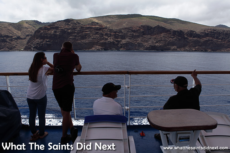 A front seat view of the rugged St Helena coastline.
