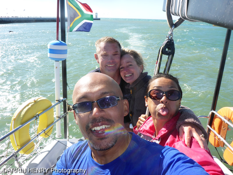 The group selfie as we sail into the harbour.