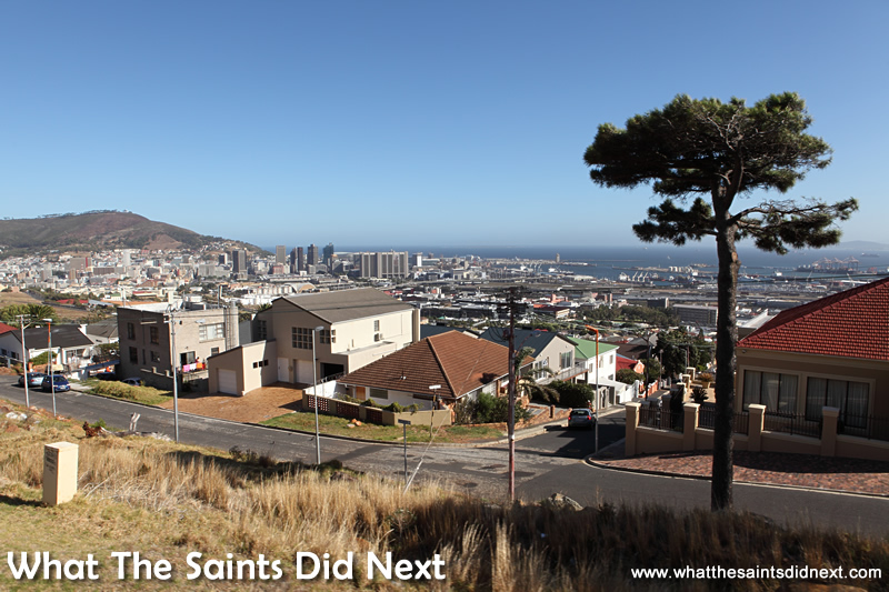 Looking down on the city as the blue route heads to the backside of Table Mountain.
