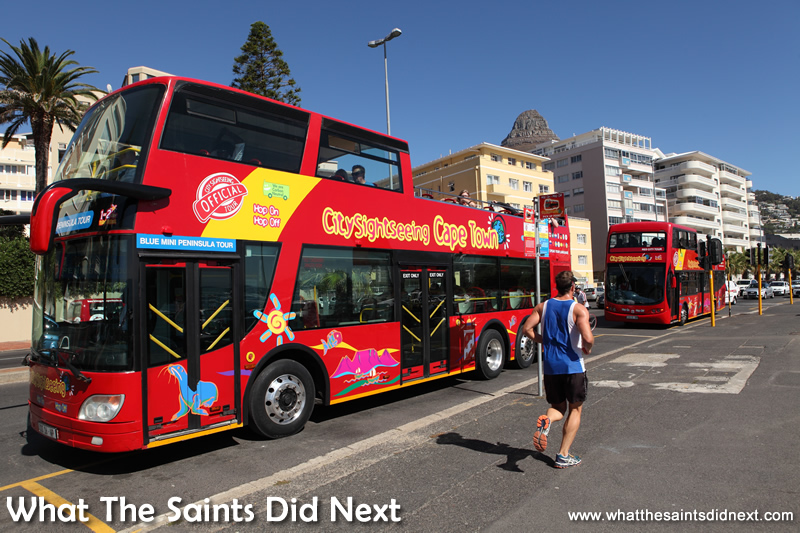 The famous City Sightseeing tour bus in Cape Town.