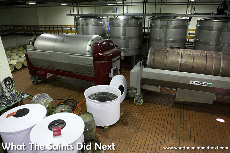 The grapes are crushed in the two horizontal tanks.