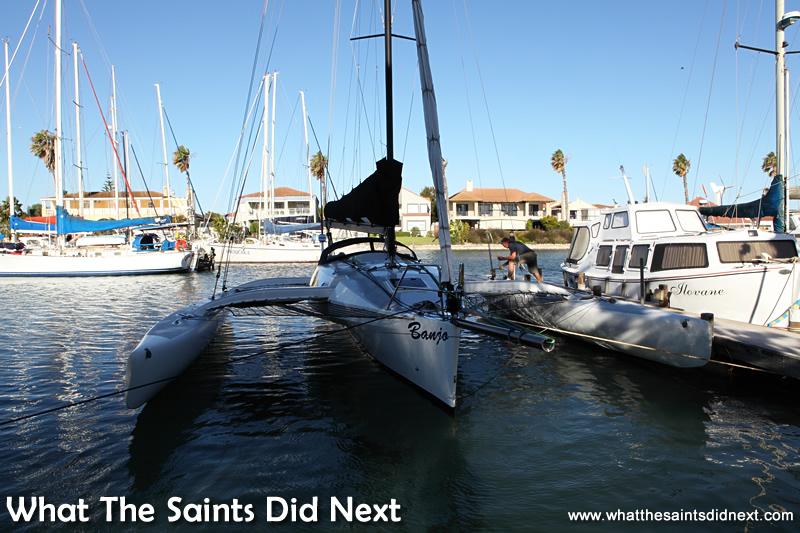 Banjo safely secure in her home port marina.