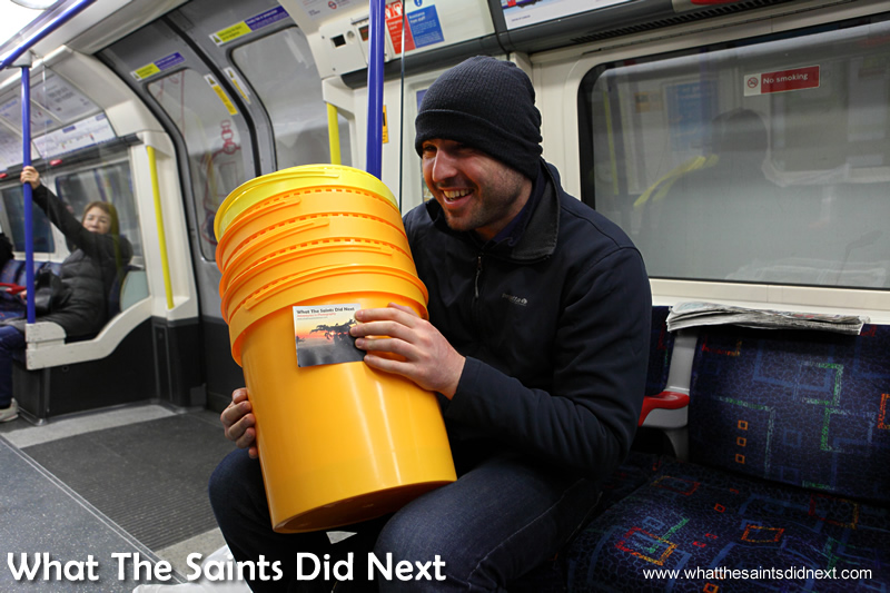 Dan shows me his buckets at our first meeting.