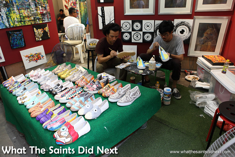 Customised shoe art as you wait.