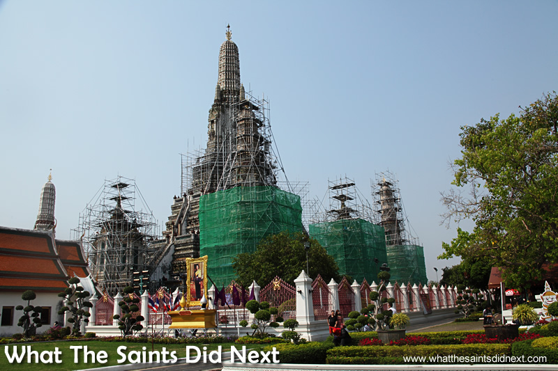 Wat Arun was covered in scaffolding which spoiled the visit.