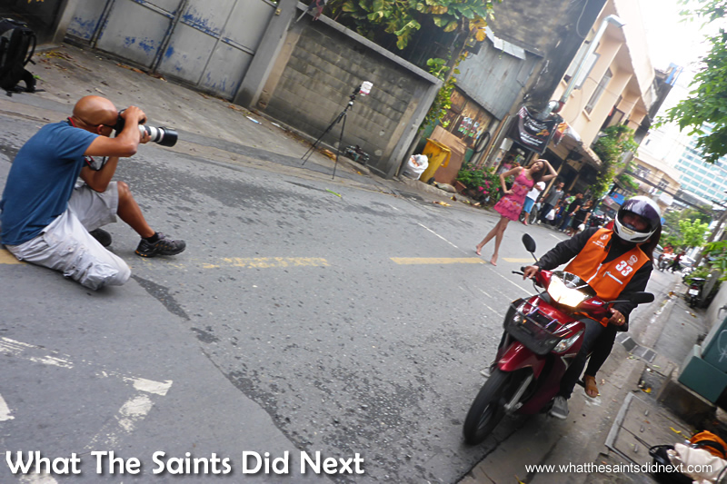 During our shoot the traffic seemed to increase! We managed to keep shooting as the scooters drove around us - only in Bangkok!