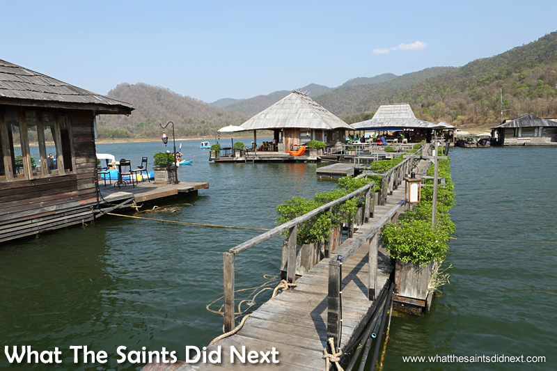 The Mountain Float boathouses.