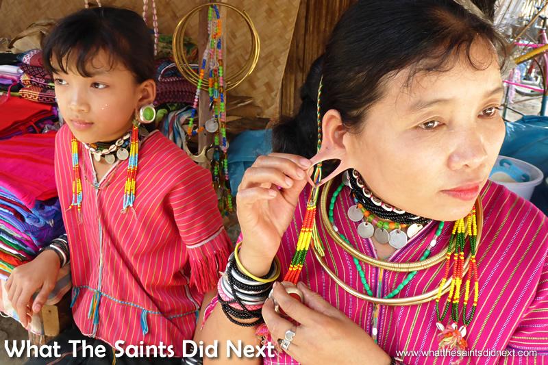 It doesn't hurt.  A Long Ear lady showing us the large hole in her ear lobe.