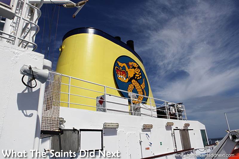 The iconic yellow funnel of the RMS St Helena.