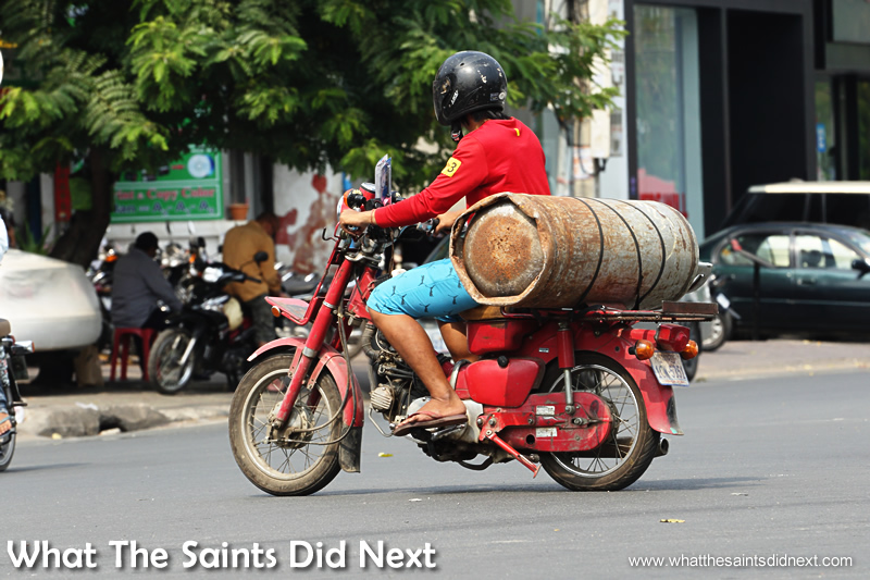 Health & Safety rules are little less strict here. Gas cylinders are whizzed about on mopeds quite easily.