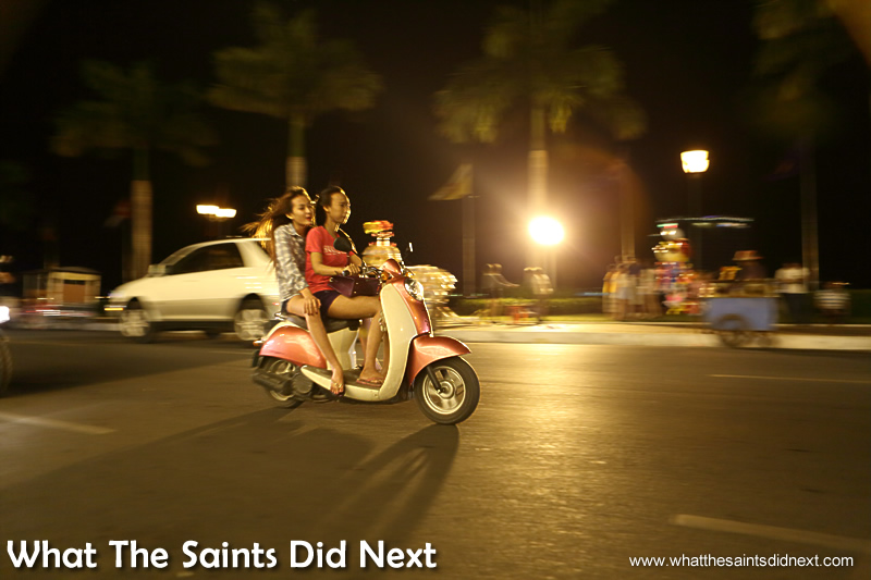 Young girls out for the night on the Riverside in Phnom Penh.