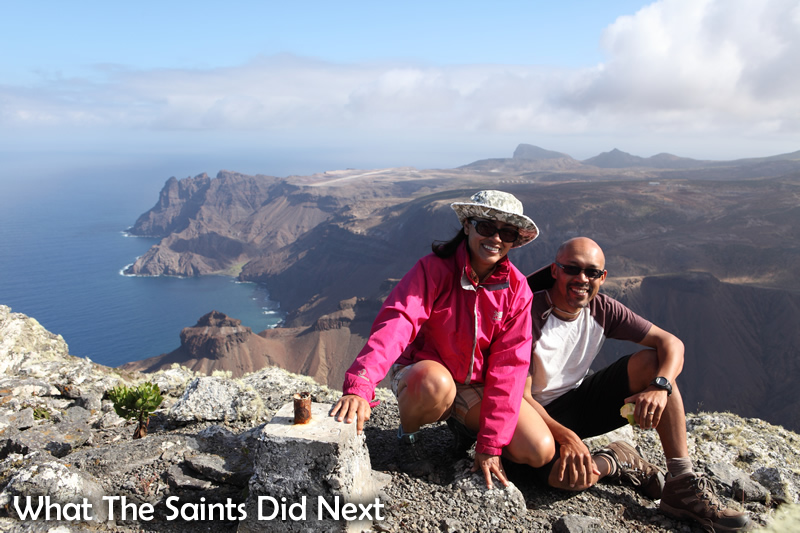 Sharon and I on top of 'The Barn,' one of the more difficult hikes on St Helena.