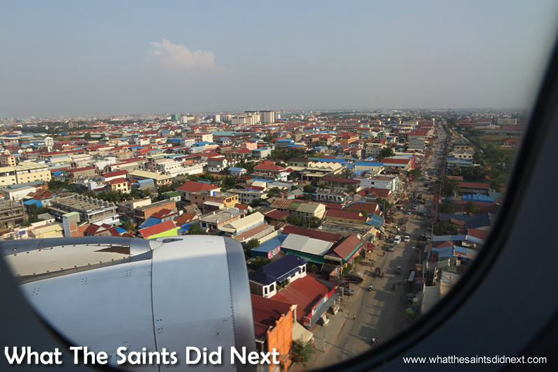 Phnom Penh as seen from an airplane on final approach to landing.