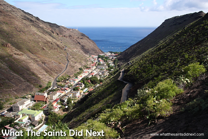 Jamestown is the island's capital, wedged between the steep valley walls.