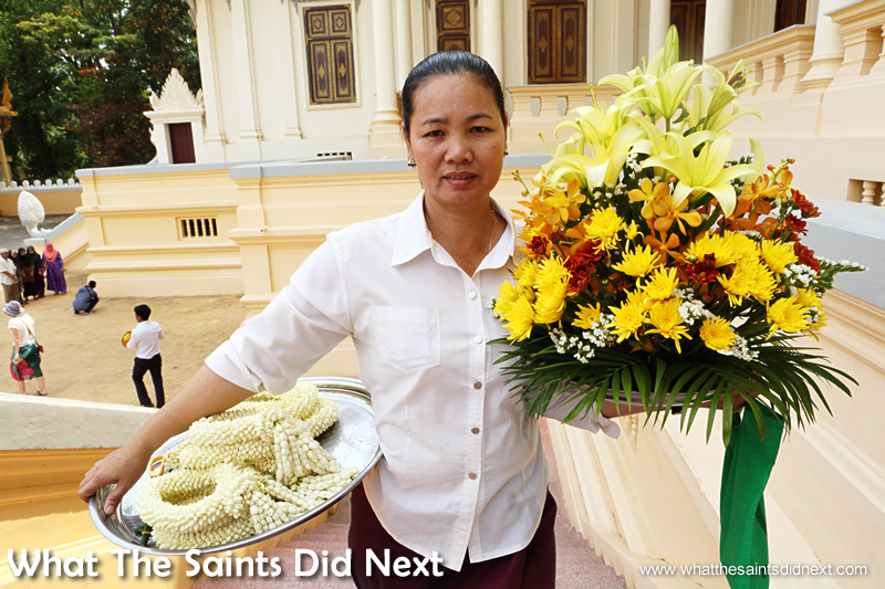 Flower arrangements on their way to The Throne Hall.