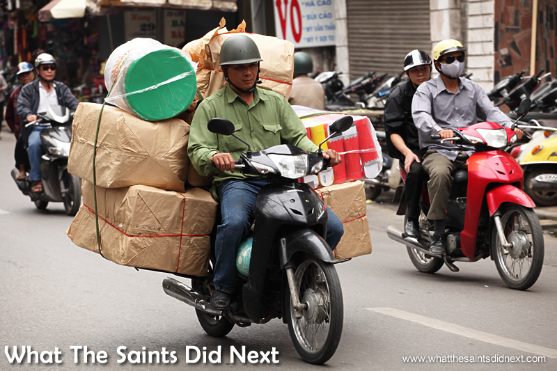 As with many Southeast Asian nations, the moped is used to carry almost anything.