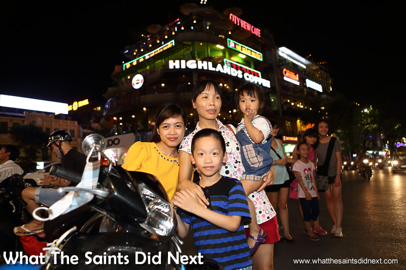 Many families can be seen enjoying the warm Hanoi evenings, strolling about together in the city centre.