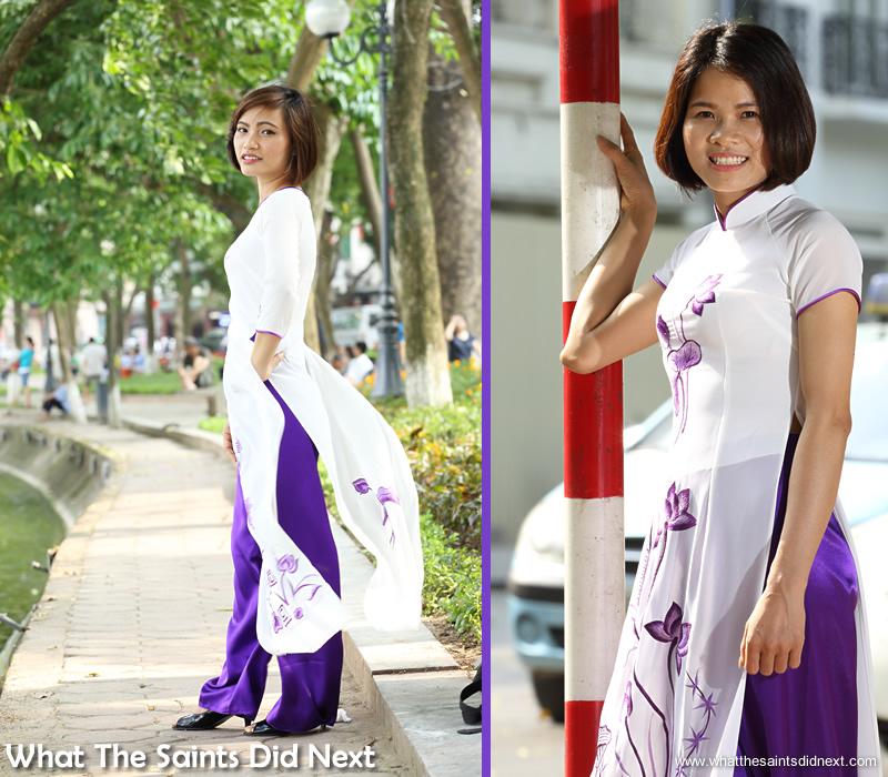 Both girls did a brilliant job showing off the áo dài.