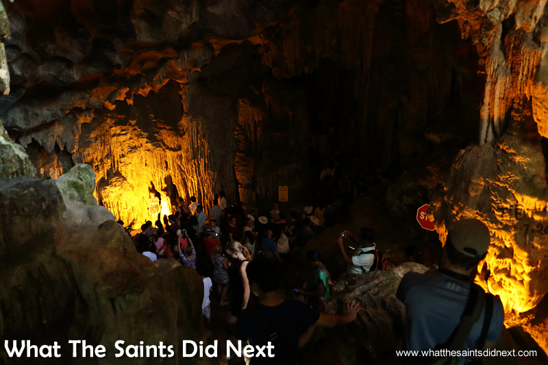 The view into the first cave at Sung Sot, taken from the entry stairway.