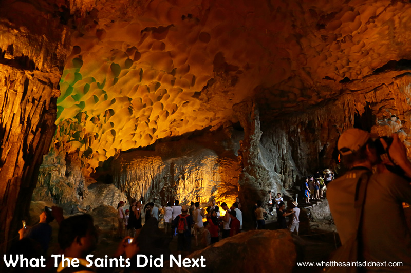 The larger, inner chambers of Sung Sot caves begin to reveal themselves.