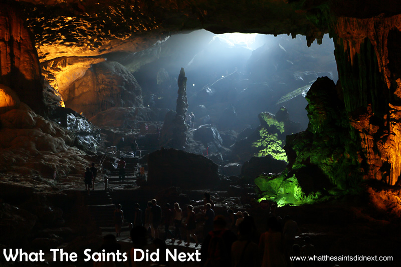 Light from the exit area streams into the Sung Sot cave.