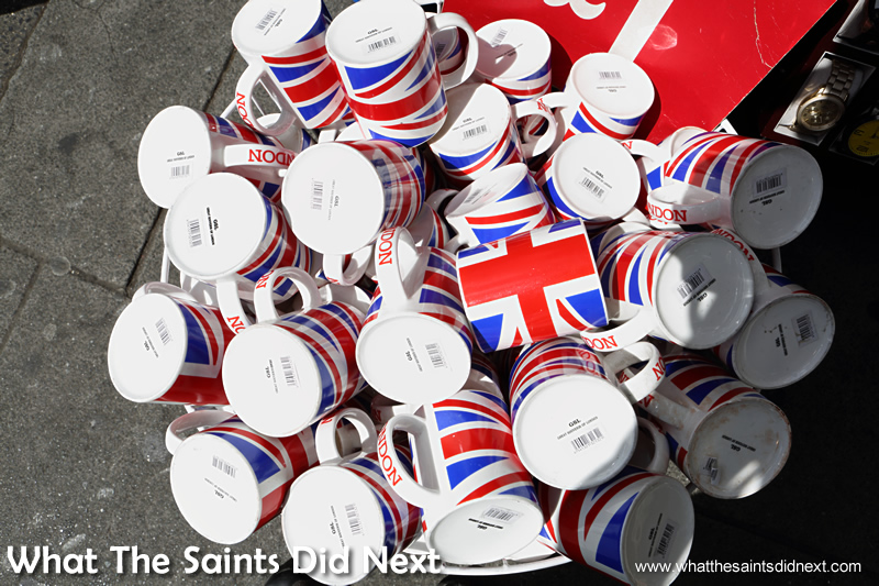 A collection of British mugs.