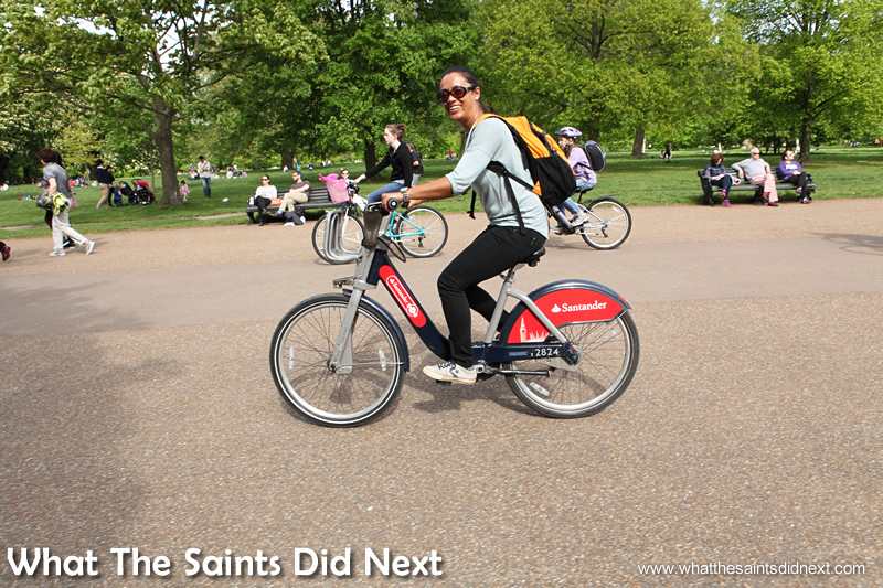 Sharon riding one of the famous Boris bikes in Hyde Park, one of the most popular parks in London.