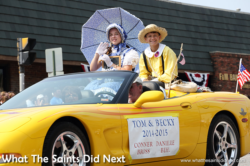 Two of last years Tom & Becky pairings taking part in the July 4th parade in Hannibal.