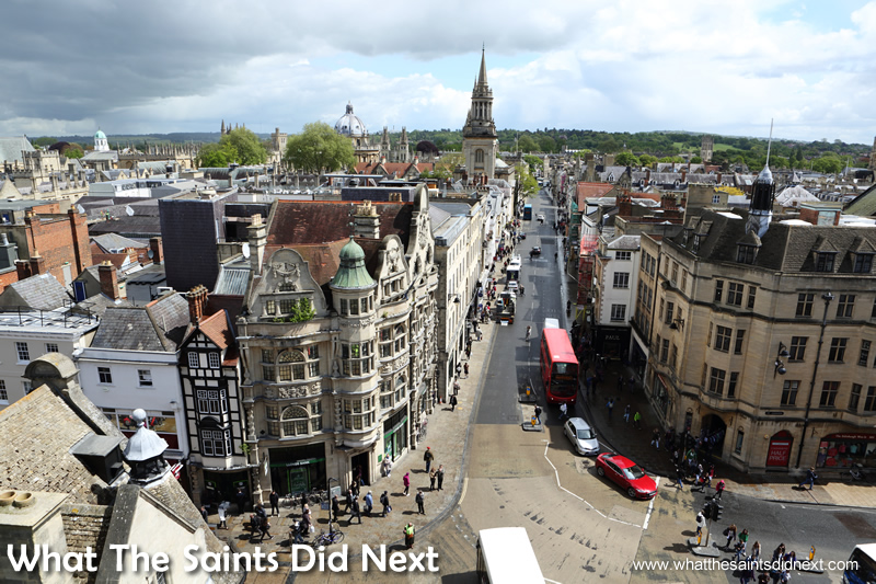 A great view of Oxford's main street from the top of Carfax Tower.
