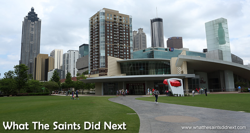 The World of Coca-Cola Museum set against the backdrop of the Atlanta skyline. General entry fee is $16 for adults.