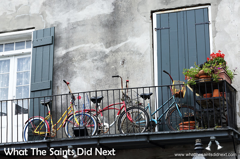 Bicycles are a great way to get around in the French Quarter. The district is just 1.5m above sea level and there are no hills to worry about.