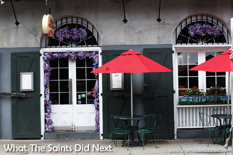 There are no shortage of places to eat in the French Quarter in New Orleans, from small cafes where you can sit under an umbrella sipping coffee, to an array of restaurants serving the regions world famous cuisine.