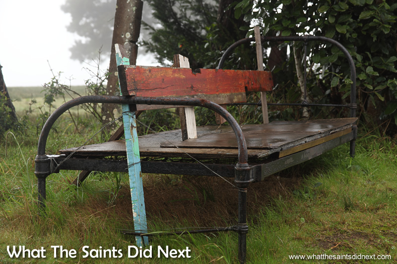 An improvised bench; no takers in the rain.