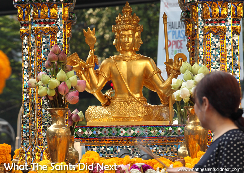 The Erawan Shrine, is a Hindu shrine in Bangkok, Thailand. Sitting in the centre is the gold statue of Phra Phrom, the Thai representation of the Hindu god of creation Lord Brahma.