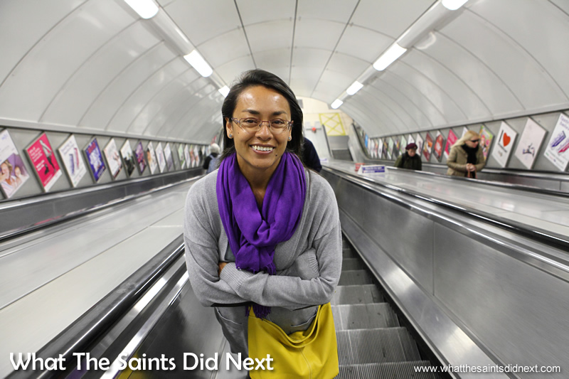 Filling the frame with Sharon and the London Underground. Once again using the full wide angle setting.