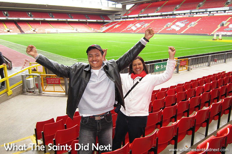Lucas and Carol thrilled to visit Liverpool FC's stadium, Anfield. With the wide angle setting we were able to include the open space of the stadium and placing the two fans near the camera we can clearly see the excitement on their faces.