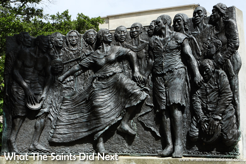 The Congo Square sculpture depicts slave's 17th century Sunday celebrations. These laid the foundation of NOLA's unique musical traditions including jazz.