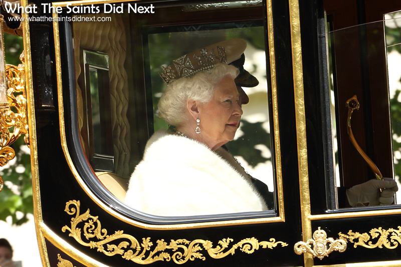 Her Majesty, Queen Elizabeth II, on her way to preside over the official State Opening of Parliament.