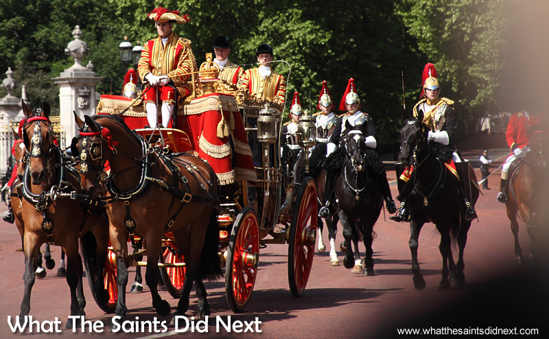 The Queen's Horse Guards escorting the carriages along the route.