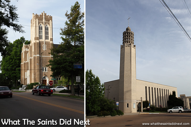The Methodist Church (left) and St Paul's Catholic Church, in Vicksburg.