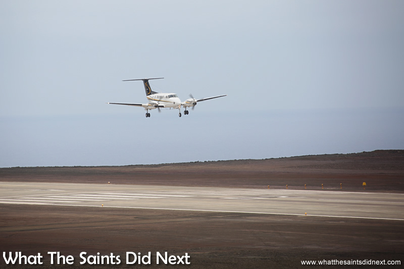A sight that is soon to become normal - a plane landing on St Helena.