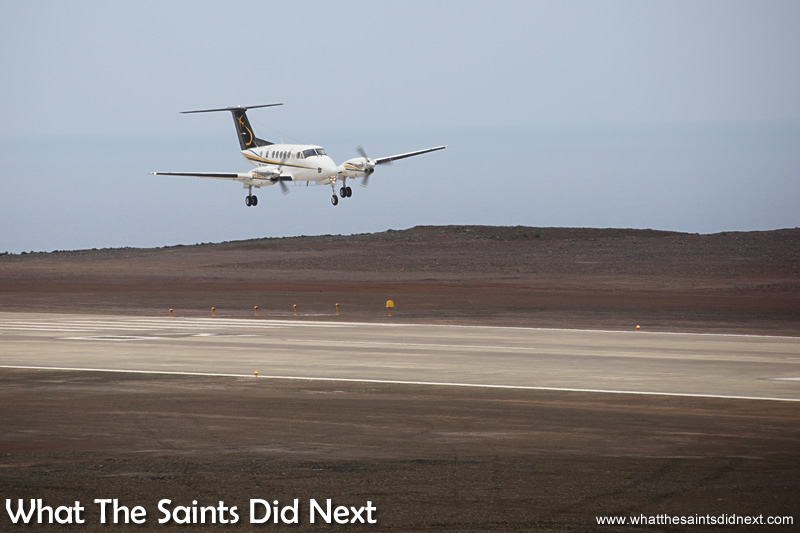 First airplane landing on St Helena Island.