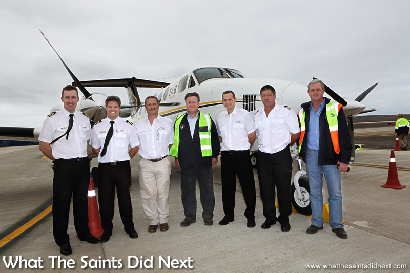 The flight crew with Island Governor, Mark Capes (centre) and Basil Read Island Director, Deon De Jager.